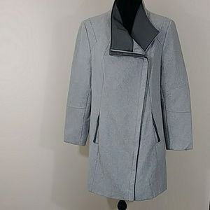Calvin Klein Wool Coat Gray with Faux Leather Sz L